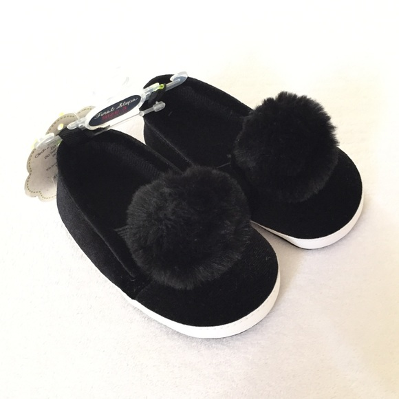 1178644a7a5ced First Steps Baby Girl Black Velour Pom Crib Shoe